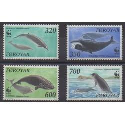 Féroé (Iles) - 1990 - No 197/200 - Mammifères - Animaux marins - Espèces menacées - WWF
