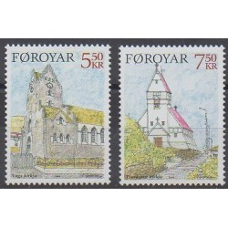 Faroe (Islands) - 2004 - Nb 507/508 - Churches - Christmas