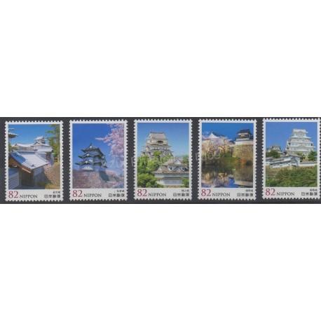 Timbres - Thème monuments - Japon - 2015 - No 6964-6968