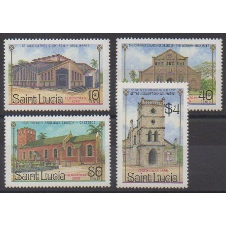 Sainte-Lucie - 1986 - No 848/851 - Églises