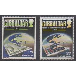 Gibraltar - 1984 - No 483/484 - Télécommunications - Timbres sur timbres - Europa
