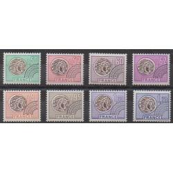 France - Préoblitérés - 1976 - No P138/P145 - Monnaies, billets ou médailles
