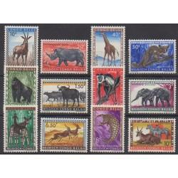 Congo belge - 1959 - No 350/361 - Mammifères