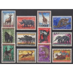 Congo belge - République - 1960 - No 400/411 - Mammifères