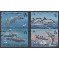 Océan Indien - 1998 - No 211/214 - Animaux marins - Mammifères