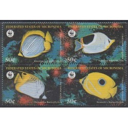 Micronésie - 1997 - No 493/496 - Animaux marins - Espèces menacées - WWF