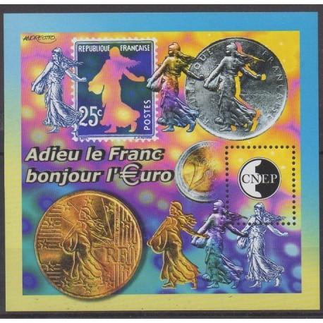 France - Feuillets CNEP - 2002 - No CNEP 35 - Monnaies, billets ou médailles