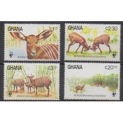 Ghana - 1984 - No 850/853 - Mammifères - Espèces menacées - WWF