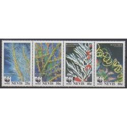 Nevis - 1994 - No 779/782 - Animaux marins - Espèces menacées - WWF