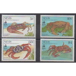 Nevis - 1990 - No 536/539 - Animaux marins - Christophe Colomb