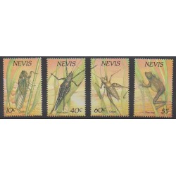 Nevis - 1989 - No 509/512 - Insectes - Reptiles