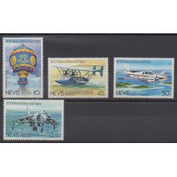 Nevis - 1983 - Nb 114/117 - Hot-air balloons - Airships - Planes