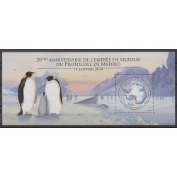 French Southern and Antarctic Lands - Blocks and sheets - 2018 - Nb F864 - Environment - Polar - Birds