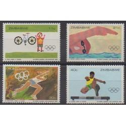 Zimbabwe - 1984 - No 63/66 - Jeux Olympiques d'été - Dessins d'enfants