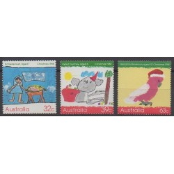 Australia - 1988 - Nb 1103/1105 - Christmas - Children's drawings