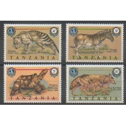 Tanzanie - 1990 - No 512/515 - Mammifères - Espèces menacées - WWF