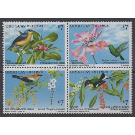 Uruguay - 1999 - No 1798/1801 - Fleurs - Oiseaux