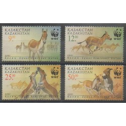 Kazakhstan - 2001 - No 289/292 - Chevaux - Espèces menacées - WWF