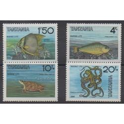 Tanzanie - 1986 - No 293/296 - Animaux marins - Reptiles
