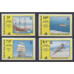 Turks and Caicos ( Islands) - 1991 - Nb 918/921 - Boats - Hot-air balloons - Airships - Planes