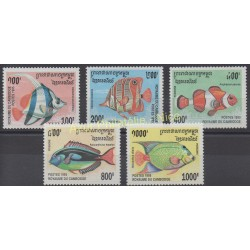 Cambodge - 1995 - No 1292/1296 - Poissons