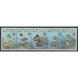 Seychelles Zil Eloigne Sesel - 1987 - Nb 143/147 - Sea animals