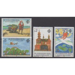 Seychelles Zil Eloigne Sesel - 1988 - Nb 174/177 - Christmas - Children's drawings