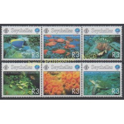 Timbres - Thème poissons - Seychelles - 1998 - No 828/833