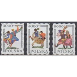 Poland - 1994 - Nb 3284/3286 - Folklore - Costumes - Uniforms - Fashion