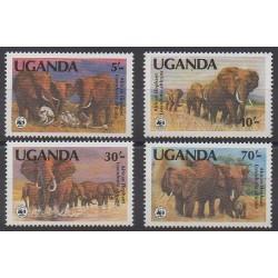 Uganda - 1983 - Nb 316/319 - Mamals - Endangered species - WWF