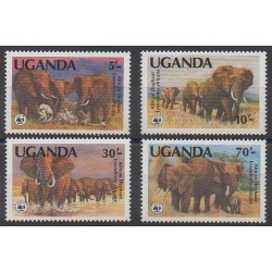 Ouganda - 1983 - No 316/319 - Mammifères - Espèces menacées - WWF