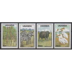 Ouganda - 1988 - No 522/525 - Animaux - Espèces menacées - WWF