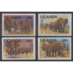 Ouganda - 1991 - No 774/777 - Mammifères