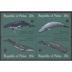 Palau - 1983 - No 15/18 - Animaux marins - Mammifères - Espèces menacées - WWF