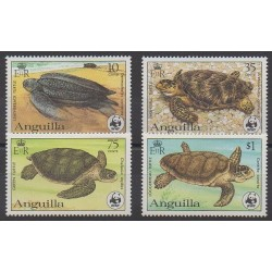 Anguilla - 1983 - No 492/495 - Reptiles - Espèces menacées - WWF