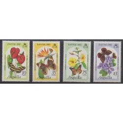 Anguilla - 1982 - No 441/444 - Fleurs - Insectes