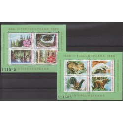 Romania - 1986 - Nb BF181/BF182 - Flowers - Animals - Environment