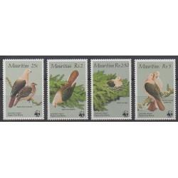 Maurice - 1985 - No 631/634 - Oiseaux - Espèces menacées - WWF