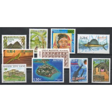 Mayotte - Année complète - 2003 - No 140/148 et PA6