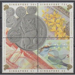 Singapour - 1992 - No 651/654 - Monnaies, billets ou médailles