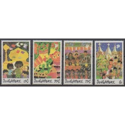 Singapour - 1989 - No 562/565 - Dessins d'enfants - Folklore
