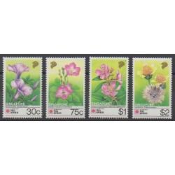 Singapour - 1991 - No 619/622 - Fleurs - Philatélie