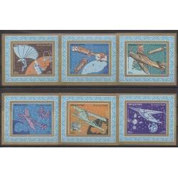 Yemen - 1982 - Nb PA208 Série de 6 blocs individuels - Planes - Space
