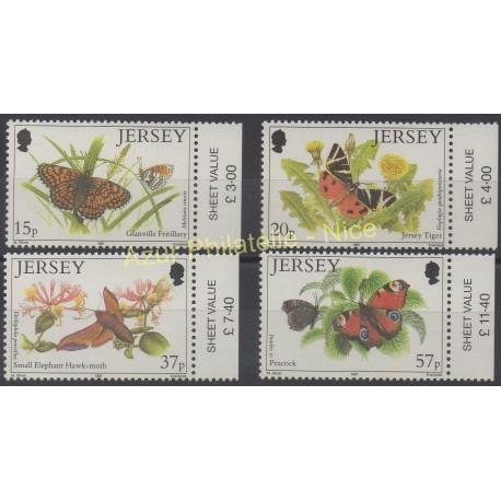 Jersey - 1991 - Nb 543/546 - Butterflies