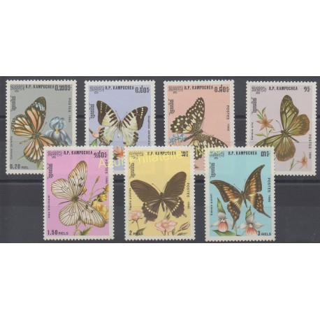 Cambodge - 1986 - No 632/638 - Papillons