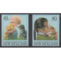 Nouvelle-Zélande - 1993 - No 1239/1240 - Enfance - Chiens - Chats