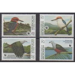 Micronésie - 1989 - No 133/136 - Oiseaux - Espèces menacées - WWF