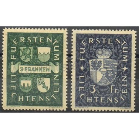 Liechtenstein - 1939- No 159/160 - Armoiries - Neuf avec charnière