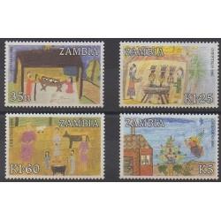 Zambie - 1986 - No 360/363 - Dessins d'enfants - Noël