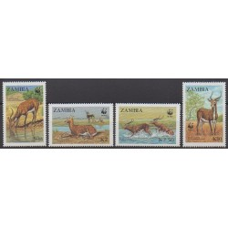 Zambia - 1987 - Nb 429/432 - Mamals - Endangered species - WWF